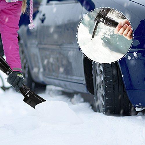 Pala de Nieve Plegable Pala Multifuncional de 57.5cm con 3 Pliegues de Acero de Alto Carbono Tacklife GFS1A con Bolsa de Transporte Empuñadura Ergonómica Calidad Militar