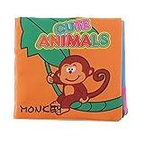 MagiDeal Baby Bild Stoffbuch mit Ton , Englisch Erkennungsbuch, 8 Seiten, Pädagogisches Spielzeug für Kinder 0-3 Jahre alt - Tier
