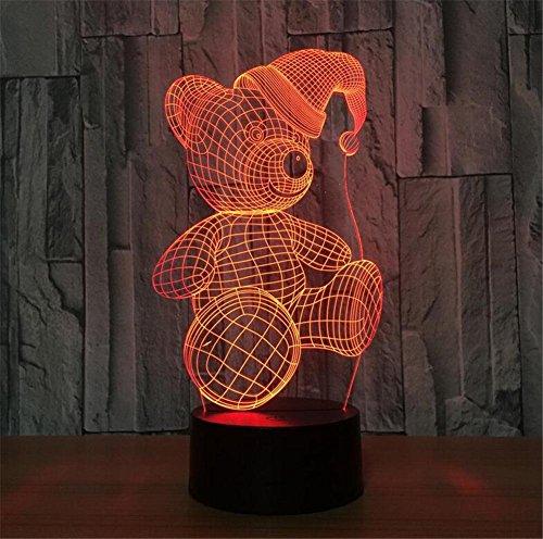 Kompatibel Cyan-box (DREAM LAMP Weihnachten Glocke 3D LED Touch / Fernbedienung Nachtlicht Optische Täuschung Licht Schreibtisch Licht Tischlampe Room Decor Kinder Geschenk (7 Farbe) , D)