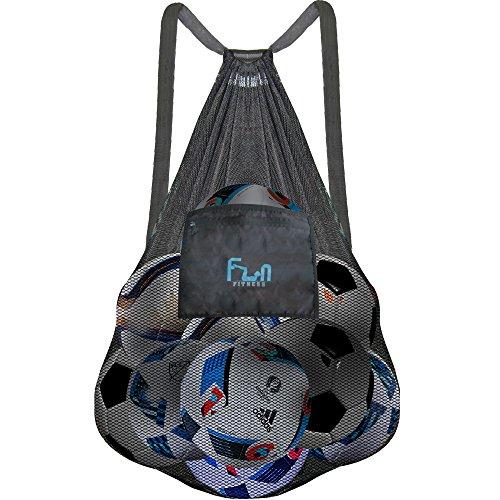 FunFitness NETZBEUTEL - XXXL Schwarz - Rucksack mit Zugverschluss, perfekt für den Strand, Swimmingpool, Spielzeuge, Bälle, u.v.m. - Halten Sie Sand und Wasser fern