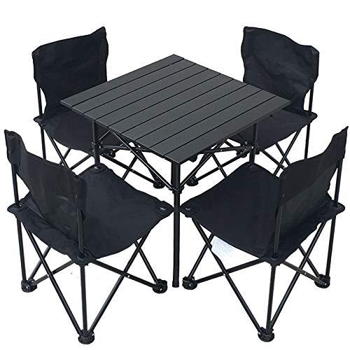 LLZY Im Freien tragbare fünf Stück Tisch und Stuhl Set Picknick Grill Camping Klapptisch und Stuhl Kombination -