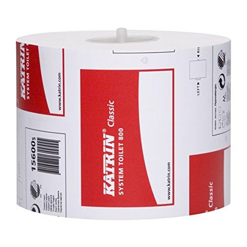 36 Rollen Katrin Classic System toilet 800 (Art-Nr.: 156005), 2-lagig, weiss 800 Blatt/Rolle für Katrin Spendersystem metsä tissue