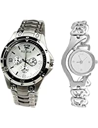 Xforia Unisex Watch Stylish Silver Metal Analog Watches For Couple Pack Of 2 Discounted