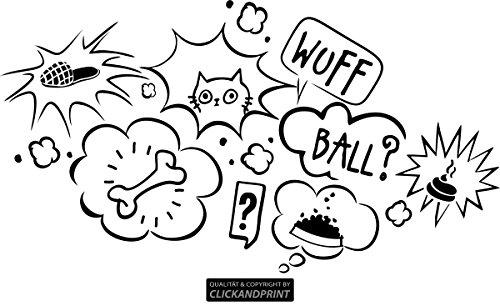 CLICKANDPRINT Aufkleber » Gedanken deines Hundes, 70x38,2cm, Schwarz • Wandtattoo / Wandaufkleber / Wandsticker / Wanddeko / Vinyl