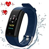 leegoal Fitness-Tracker-Uhr mit Pulsuhr, Aktivitäts-Tracker-Uhr wasserdicht Smart Fitness-Schrittzähler-Uhr-Farbdisplay-Armband-Armband mit Schlafmonitor, Schrittzähler, Kalorienverfolgung