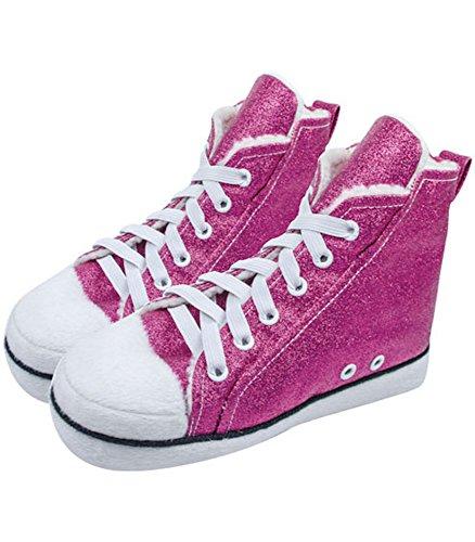 Mädchen Converse wie Hi Top Hausschuhe Pink Sparkle