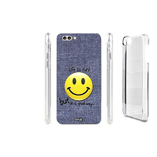 CASELABDESIGNS COVER CASE CRYSTAL EFFETTO JEANS SMILE FUN PER IPHONE 7 PLUS - CUSTODIA IN PLASTICA RIGIDA