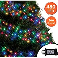 Multi Coloured Christmas Lights 480 LED 6m Cluster Tree Lights Indoor/Outdoor Christmas Lights String Fairy Gutter Lights Memory Timer Mains Powered 19ft Lit Length 10m/32ft Lead Wire Green Cable