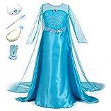 YOSICIL Vestido de Princesa Elsa Vestido Frozen Niñas Disfraz Traje de Cumpleaños Ninas Fancy...