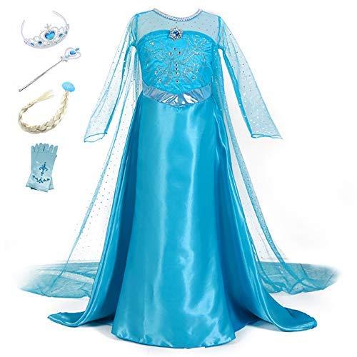 YOSICIL Vestido Princesa Elsa Vestido Frozen Niñas