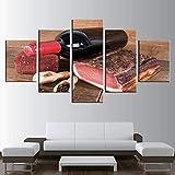 Mddrr Leinwand Hd Drucke Bilder Wohnkultur Zimmer 5 Stücke Rotwein Und Fleisch Gemälde Küche Wandkunst Lebensmittel Restaurant Poster Rahmen