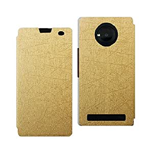 Heartly Premium Luxury PU Leather Flip Stand Back Case Cover For YU Yuphoria YU5010 5010A - Hot Gold