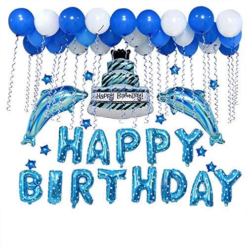 Juego de globos de aluminio con diseño de tarta de delfín, color azul