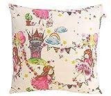 """Kissenhülle 40 X 40 cm """" Prinzessin Treff Kutsche"""" Kissenbezug für Kissen 100 % Baumwolle BW Handmade Kinderzierkissen Rosa Pink Märchen Prinz Schloss Rosa Punkte"""