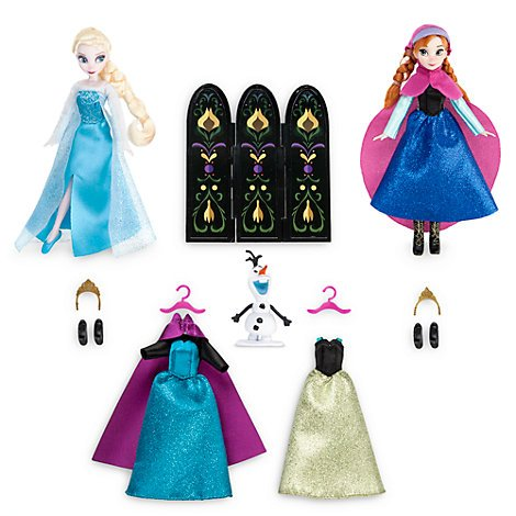 Elsa und Anna Kleiderschrank Puppe Set, gefroren mit 4 glitzernden Kleidern, 4 Paar Schuhe, 2 Tiaras, 2 Kleiderbügel und einem Ankleide Bildschirm (Disney-puppe Kleid-set)