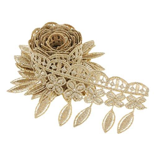 Hellery 1 Yd Vintage Style Fransen Lace Edge Trim Hochzeit Quaste Ribbon Applique - Gold -