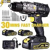 Perceuse Visseuse sans Fil, TECCPO 30min Rapide Chargeur(60Nm), 2×2.0Ah Batteries...