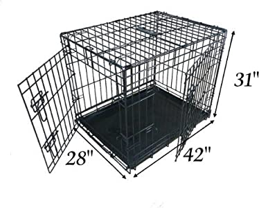 Ellie-Bo Dog Puppy Cage Folding 2 Door Crate with Non-Chew Metal Tray Extra Large 42-inch