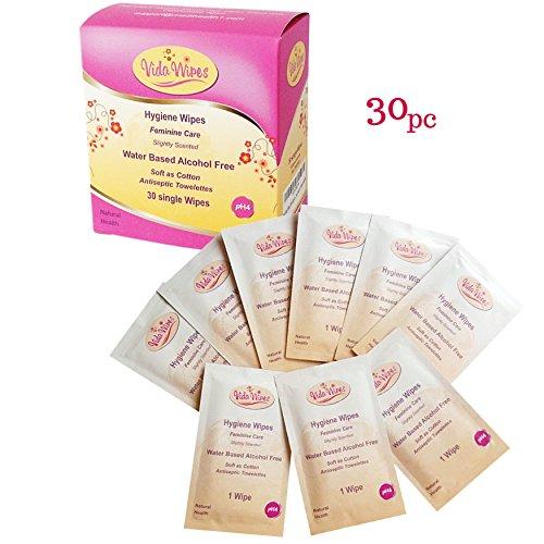 Feminine Feuchttücher Hygiene-Reinigungstücher | Antibakterielle individuelle Tücher | Antiseptische Reinigung für Menstruationstasse und Genitalbereich| 30 biologisch abbaubare einzeln verpackte Reisetücher
