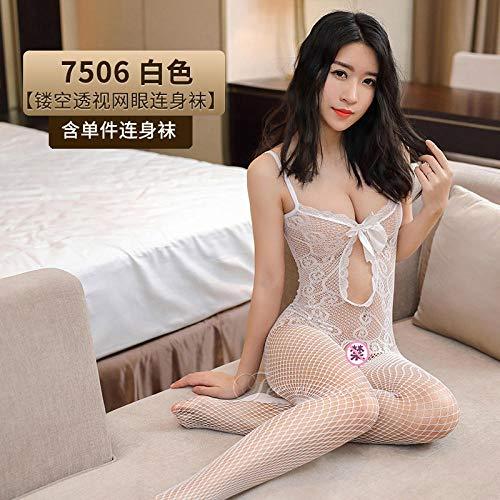 Sexy Dessous, sexy Socken mit offenem Bein, Einteilige Schwarze Seidenuniform, Versuchung @ White_One Größe
