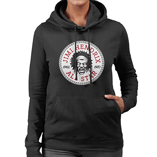 Jimi Hendrix All Star Converse Logo Women's Hooded Sweatshirt (All-star-spiel-logo)