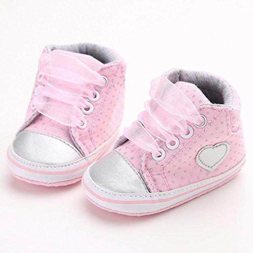 Babyschuhe Longra Mädchen Canvas Schuhe Baby Jungen Schuhe Sneaker Anti-Rutsch weiche Sohle Kleinkind Schuhe Lauflernschuhe(0 ~ 18 Monate) Pink
