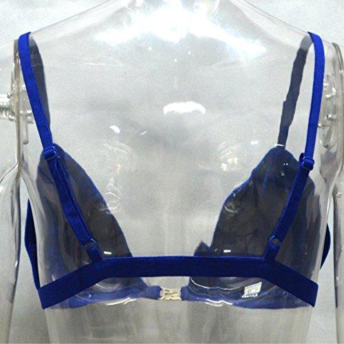 Xinan Damen Samt Hemd Weste Bandage Ultradünnen Bra Crop Top Blau