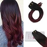 Moresoo 22 Pouces/55cm Extensions Bresiliennes a Clips de Cheveux Lisses Balayage...