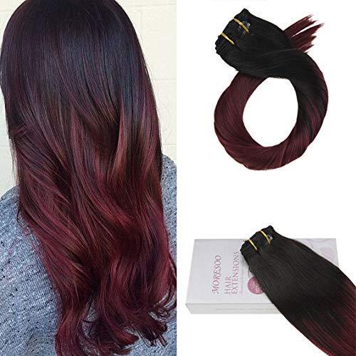 Moresoo 16 Pouces/40cm Dip Dyed Raides Extension Cheveux Clip Naturel 7 Pieces #1B Noir a #99J Vin Rouge 100% Cheveux Humains Bresiliens 120gramm