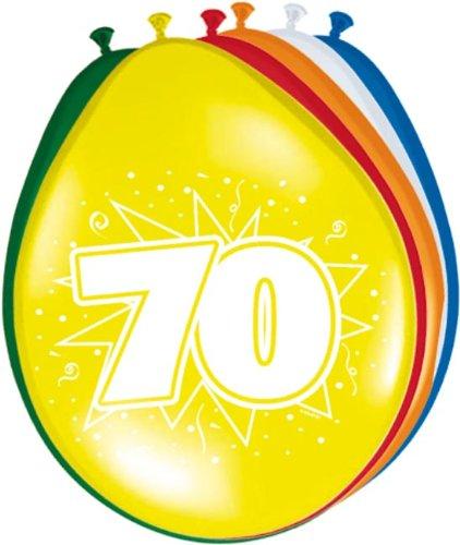 (Folat 8 Luftballons Zahl 70 Geburtstag bunt)