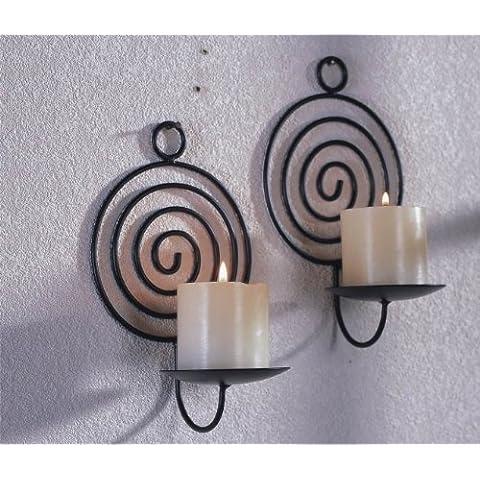 Portavelas para fijar a la pared de metal, conjunto de 2, espiral