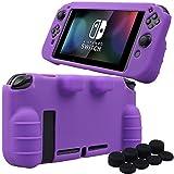 Pandaren silicona Empuñadura Protector funda protectora para Nintendo Switch consola(púrpura) + Joycon empuñaduras de pulgar thumb grips x 8