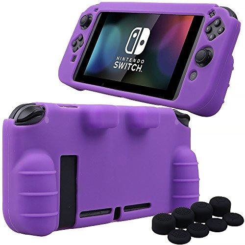 mxrc Silikon Rubber Cover Haut Fall Anti-Rutsch Hand Grip Anpassen für Nintendo Schalter X 1(Lila) + joycon Daumenauflage X 8