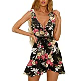 4694bd4fa1fe9 Vestido de Mujer con Estampado de Volantes Cruzados Dwevkeful Sin Manga  Tirantes Moda Noche Ajustado Escote en V Push up Vestidos de Playa  Primavera y ...
