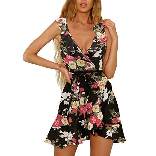 iHENGH Damen Sommer Rock Lässig Mode Kleider Bequem Frauen Röcke Blumendruck Strand Stil Ärmellos A Line Minikleid(Schwarz, ()