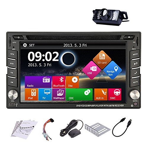 Upgarde Version With Backup Camera ! Win 8 Double Din In Dash Car Stereo Radio 2 DIN Car DVD CD Video Player Bluetooth GPS Navigation Car Entertainment with 800MHZ CPU (In Dash Stereo With Backup Camera)