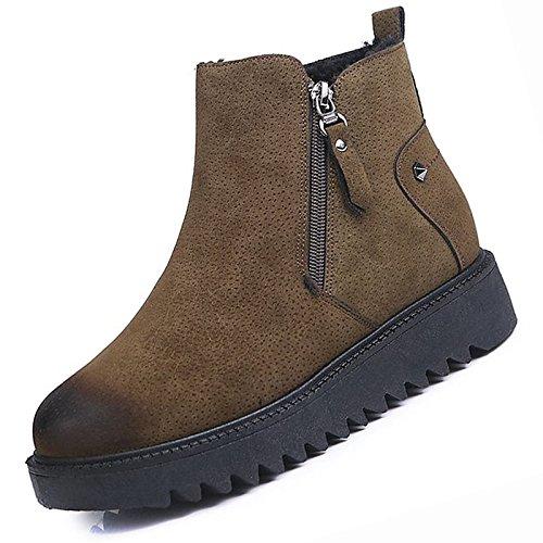HSXZ Scarpe donna pu moda inverno Stivali Stivali tacco piatto rotondo Mid-Calf Toe stivali per Casual marrone nero Brown