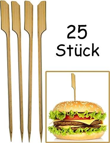 HOMETOOLS.EU - Hamburger Spieße, Hamburger Sticks | BBQ-Grill-Party Hamburger Cheese-Burger | Bambus Fahne Sticker - Fixieren und halten den Burger zusammen! | Holz, 15 cm, 25 (Burger Bar)