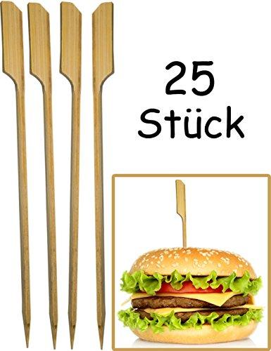 HOMETOOLS.EU® - 25x Hamburger Spieße, Sticks | BBQ Grill Cheese Burger | Bambus Fahne, Fixieren und halten den Burger zusammen! | Holz, 15cm, 25 Stück (Grill Fahne)
