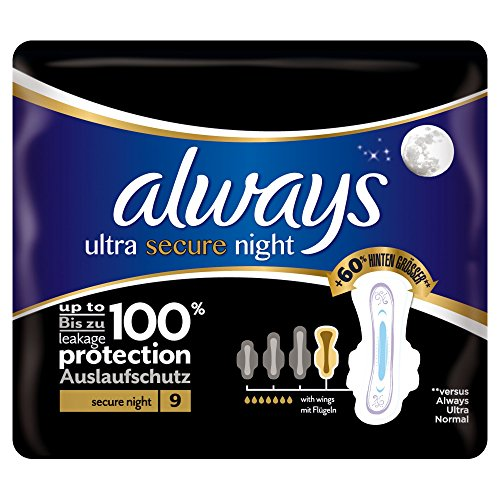 Always Ultra Secure Night Binden mit Flügeln, 9Stück
