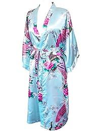 "CCCollections Kimono 16 colours ""premium version"" Peacock Premium Dressing Gown robe satin silk feel cosplay gift loungewear"