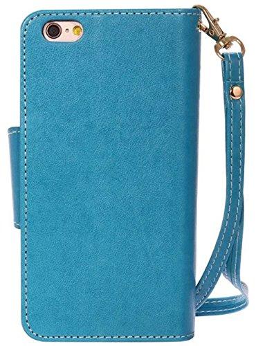 Nnopbeclik Coque Iphone 7 Plus Apple [New] Mode Fine Folio Wallet/Portefeuille en Bonne Qualité PU Cuir Housse pour Iphone 7 Plus Coque Cuir (5.5 Pouce) [Antichoc] élégant Fille Style de Gaufrage Moti bleu