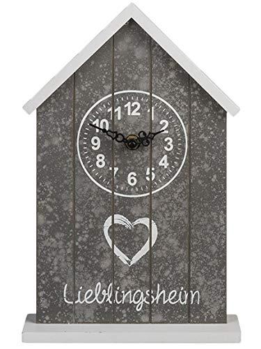 Bada Bing Uhr Lieblingsheim Holz Haus Weiß Grau Spruch Standuhr Kaminuhr Deko 71 (Schlüssel Die Für Standuhr)