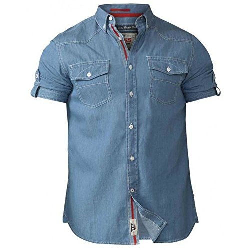 Duke Men's D555 Nathan Twin Pocket Light Denim Shirt