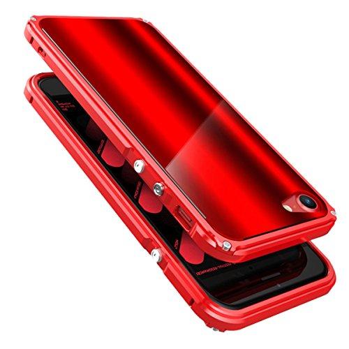 iPhone 6 / 6S Coque ,SHANGRUN Aluminium Metal Frame Bumper Coque + Dazzle couleur PC Matériel Protictive Couvercle housse Etui Protection Case pour iPhone 6 / 6S (4.7 inch) ArgentBleu Rouge+Rouge