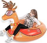 Jasonwell Slittino da Neve Renna gonfiabile Natale - Winter Snow Tube Ride On - slitte & slittini- Festa natalizia e regali decorativi per Bambini e Adulti