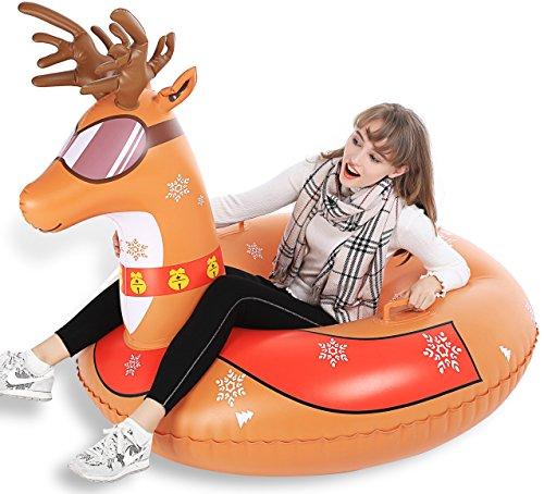 Jasonwell Winter Rentier Aufblasbare Schlitten Luftmatratze Schnee - Großes strapazierfähiges Toboggans Rodel mit kostenloser Tragetasche Weihnachts Geburtstagsgeschenk für Kinder Erwachsene