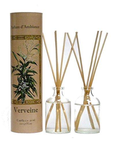 Provence et Nature: Verveine (Eisenkraut) Raumbedufter (Raumduft) mit Holzstäbchen, 2 x 50 ml Glasflaschen