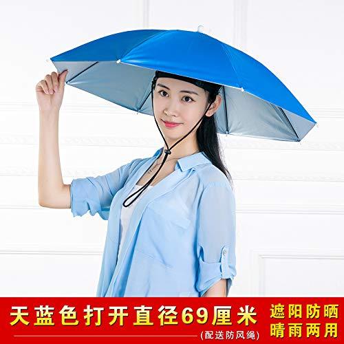 de parapluie adulte portant une de parapluie Double écran solaire parasol de pêche Parapluie pliant grande tête de parapluie portant un diamètre libre 69 jours bleu petit bracelet de livraison adulte
