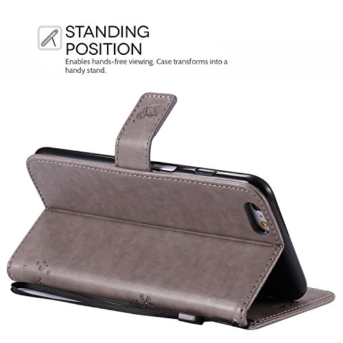 iPhone 6S Plus Hülle, iPhone 6 Plus Hülle, SpiritSun Ledertasche Schutzhülle für Apple iPhone 6 6S Plus (5.5 Zoll) Baum Muster Design Wallet Case Standfunktion und Kredit Kartenfächer - Lila Grau